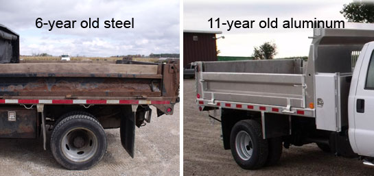 Image comparing the rust of 6 year old steel vs 11 year old aluminum